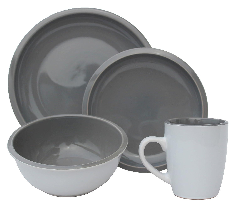 Melange 710228915498 Stoneware 16-Piece Place 2-Tone Dinnerware Set Contempo Cantina Collection Service for 4 Microwave, Dishwasher Oven Safe D, Aqua