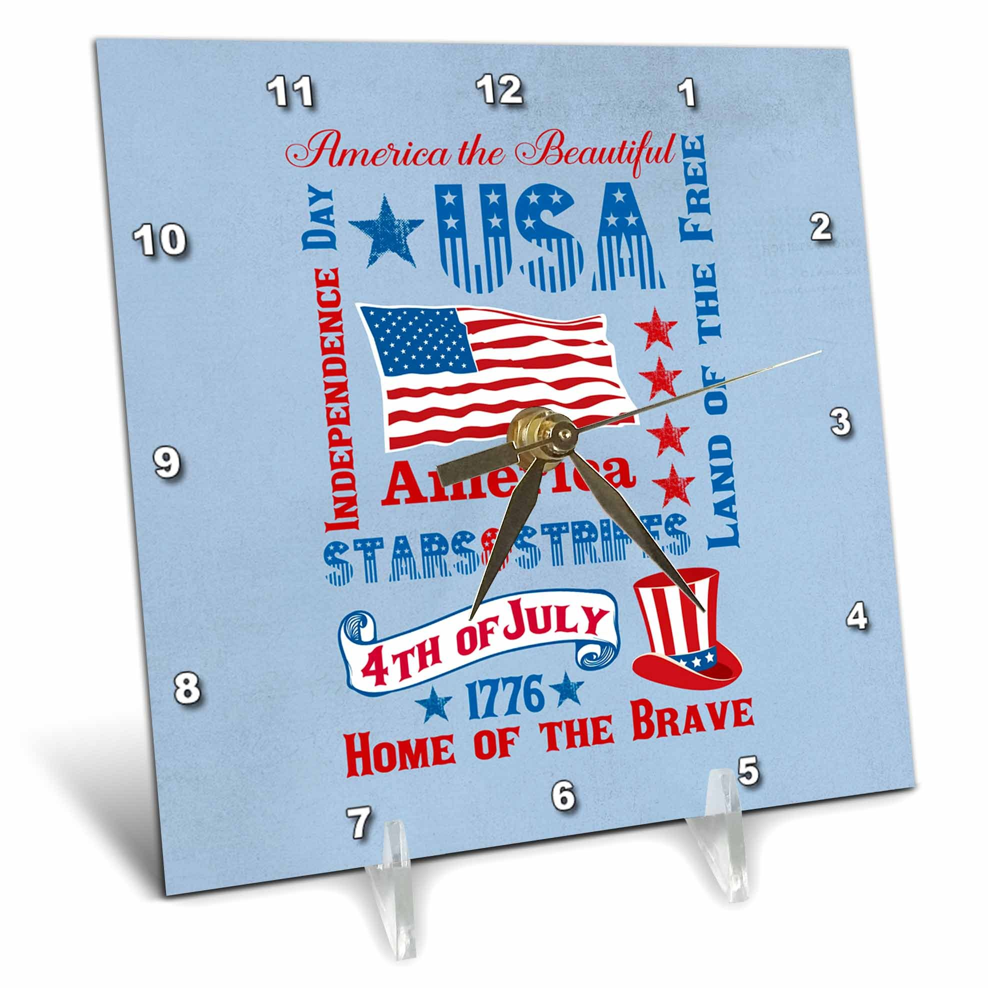 3dRose Andrea Haase Patriotic Art - America Patriotic 4th July Subway Style Typography Poster - 6x6 Desk Clock (dc_282620_1)