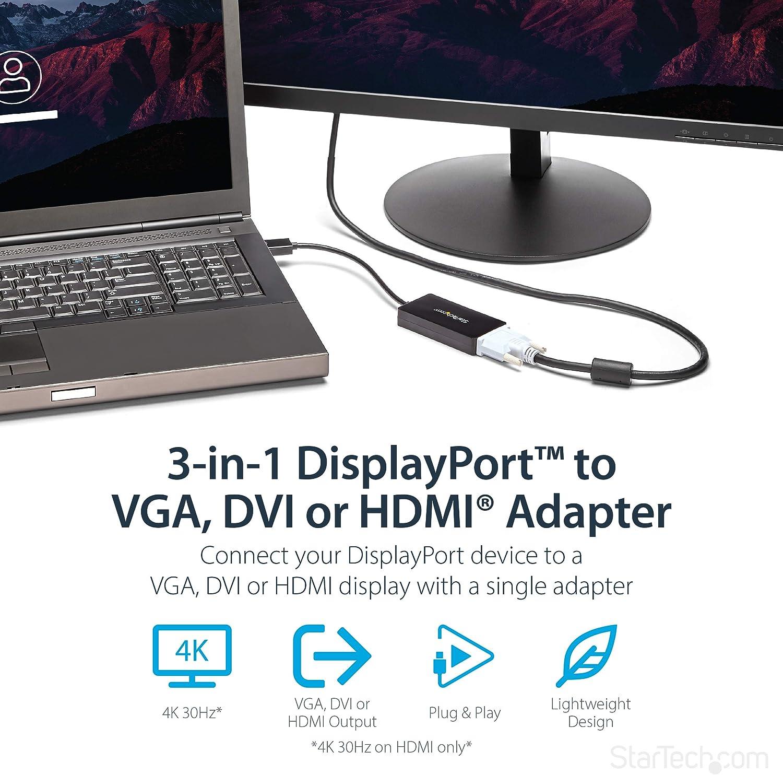 Convertisseur 2-en-1 Mini DisplayPort vers HDMI ou VGA Blanc MDP2HDVGAW StarTech.com Adaptateur audio // vid/éo de voyage