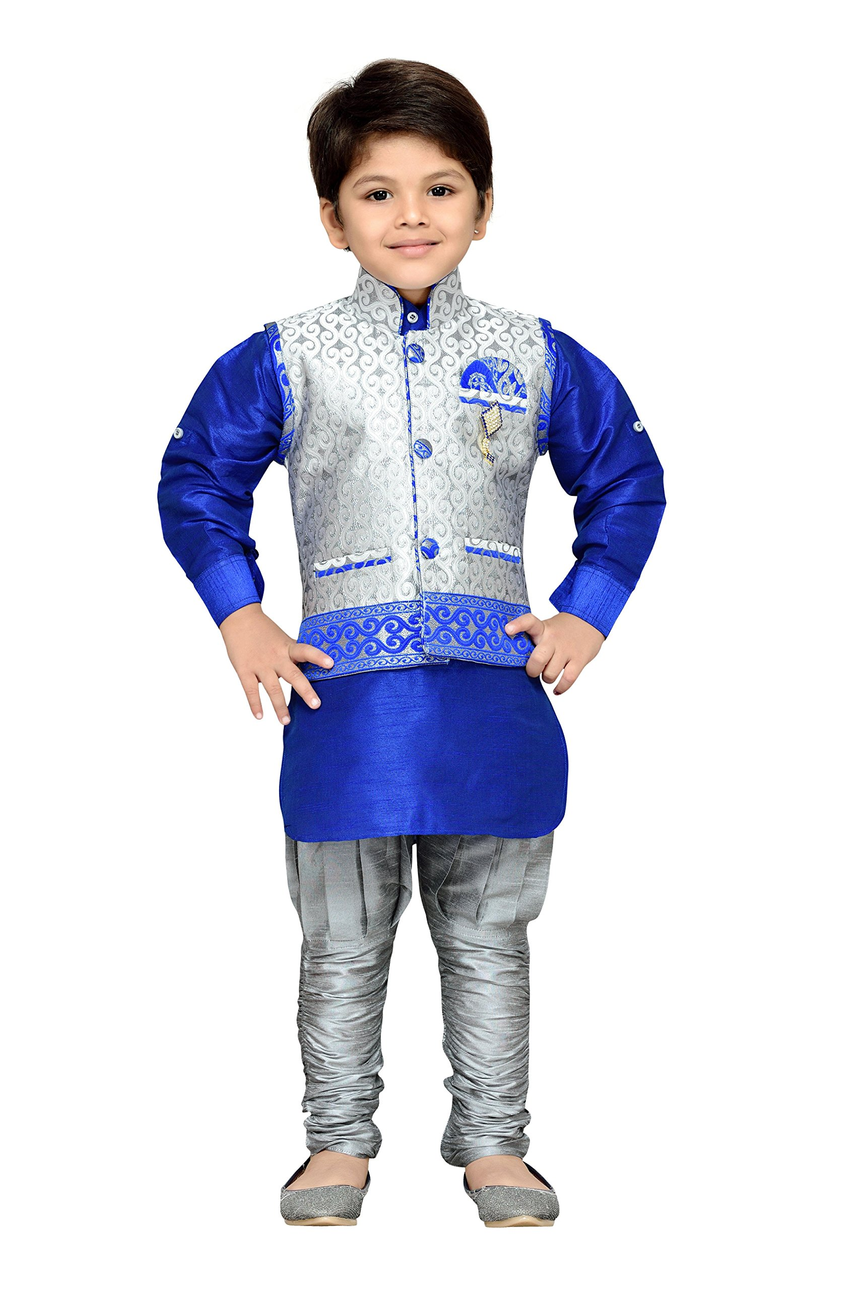 AJ Dezines Kids Indian Wear Bollywood Style Kurta Pyjama Waistcoat for Boys (636-GRAY-5)