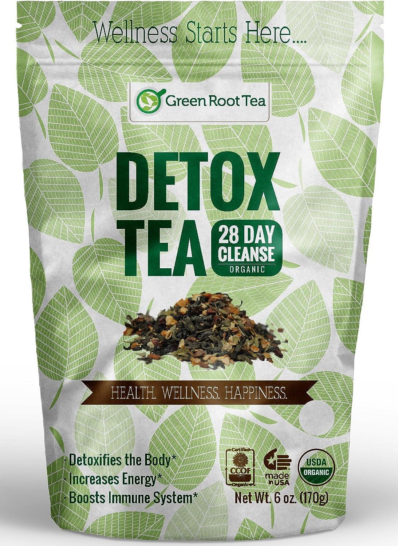 Organic Detox Tea – 28 Day Weight Loss Cleanse 56 Servings – Liver Skin Detox – Colon Teatox Diet Tea – Green Root Tea