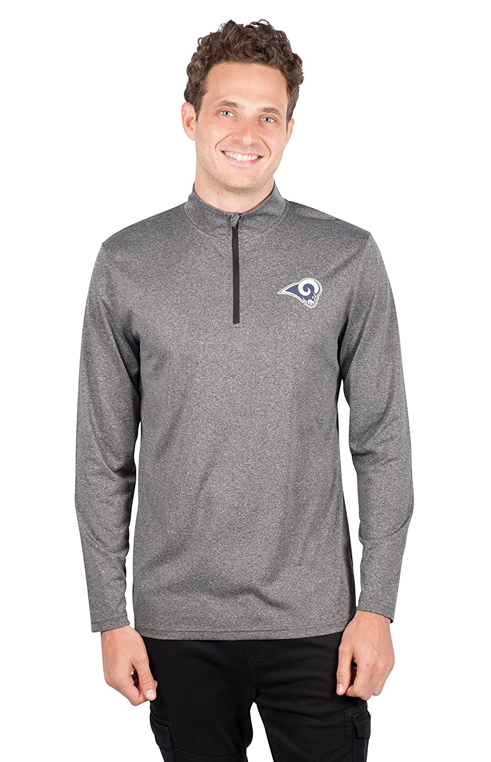NFL Los Angeles Rams Ultra Game Mens LS POLY Quarter ZIP TEE Small Heather Charcoal 18