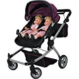 Mommy & Me Babyboo Twin Doll Stroller Foldable Deluxe Double Doll Pram with Swiveling Wheels, Convertible Seat, Basket…
