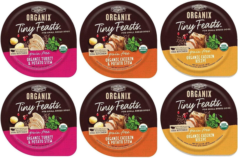 Organix Grain Free Tiny Feasts Wet Dog Food 3 Flavor Variety Bundle: (2) Organic Turkey Potato Stew, (2) Organic Chicken Potato Stew, (2) Organic Chicken Recipe, 3.5oz Each (6 Trays Total)