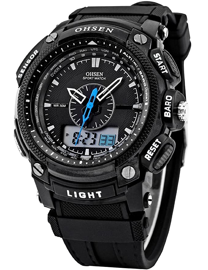 Amazon.com: OHSEN LCD Dual Core Mens Women Sport Date Day Stopwatch Black Rubber Band Watch: Watches