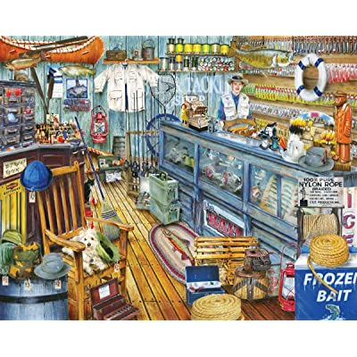 Springbok Puzzles - The Bait Shop - 1000 Piece Jigsaw Puzzle - Large 30 Inches by 24 Inches Puzzle - Made in USA - Unique Cut Interlocking Pieces: Toys & Games