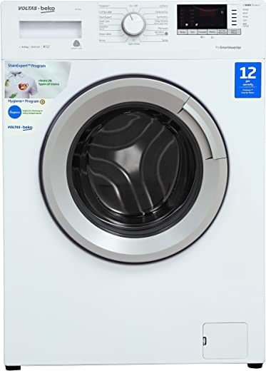 Voltas Beko 6.5 Kg Inverter Fully-Automatic Front Loading Washing Machine, Inbuilt Heater, 26 Stain Remover (WFL65W, White)