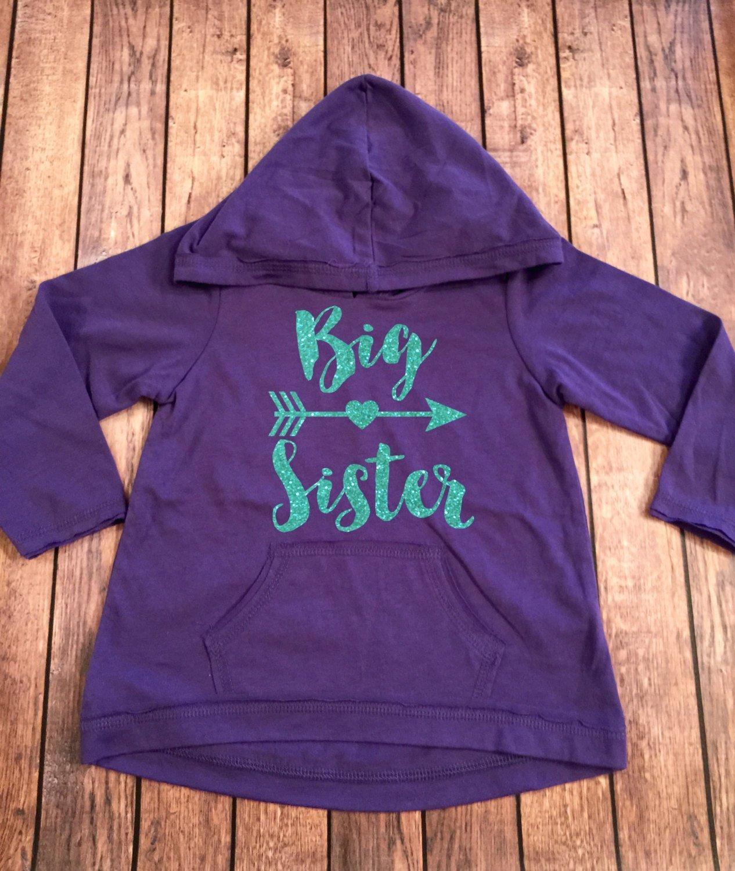 Big Sister Heart Arrow Sibling Long Sleeve Hoodie Shirt Sister Shirt Pregnancy Announcement Shirt Baby Announcement Shirt Big Sis to be