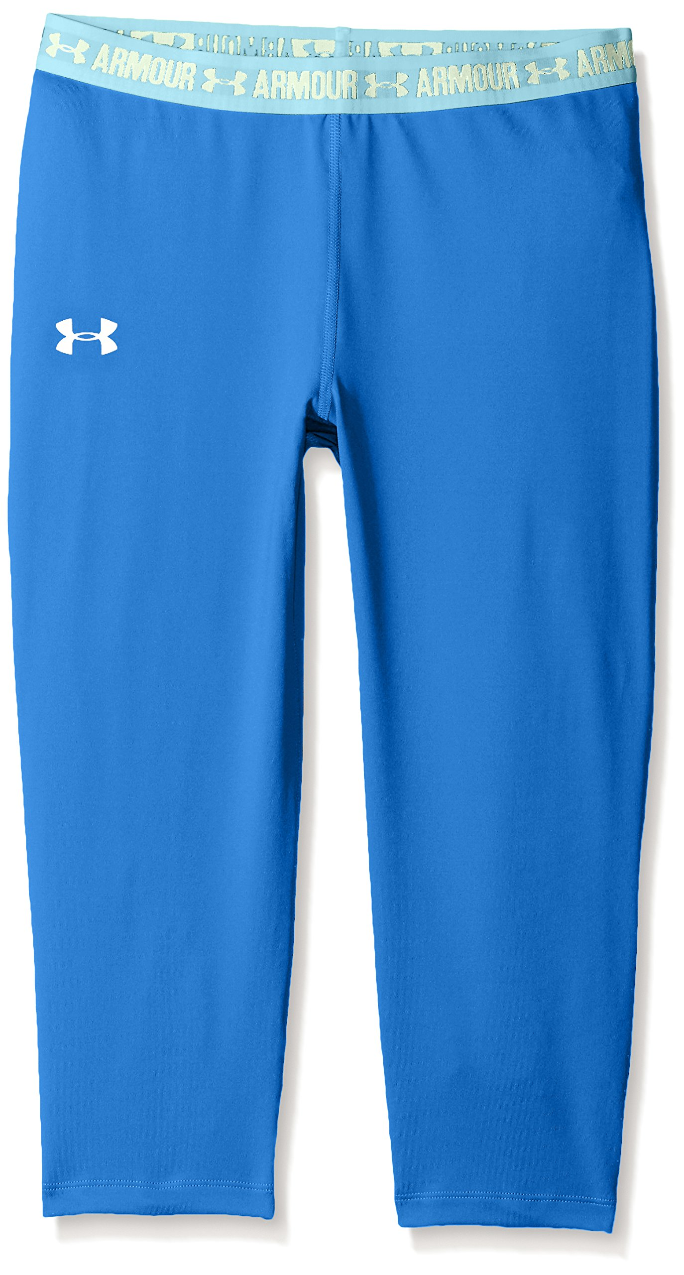 Under Armour Girls HeatGear Armour Solid Capri,Mediterranean /Pale Moonlight, Youth Small