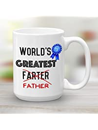 Worlds Greatest Farter Father, Large 15 oz Mug, Funny Gift for Dad