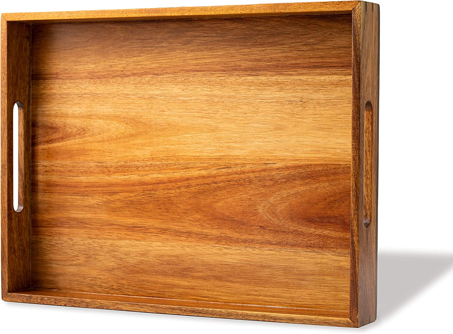 DecoVibe Acacia Wood Serving Tray with Handles - Rustic Wooden Tray for Living Room - Decorative Ottoman Wood Tray - 16
