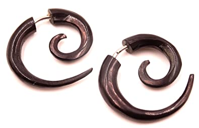 Falso Dilatador cuerno hueso Pendientes Negro Pendientes Piercing Wooden Gauge Earrings Fake par Gauge Horn Bone espiral: Amazon.es: Joyería