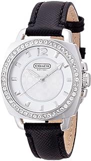 Coach Womens 14501789 Mini Boyfriend Black Leather Crystal Glitz Watch