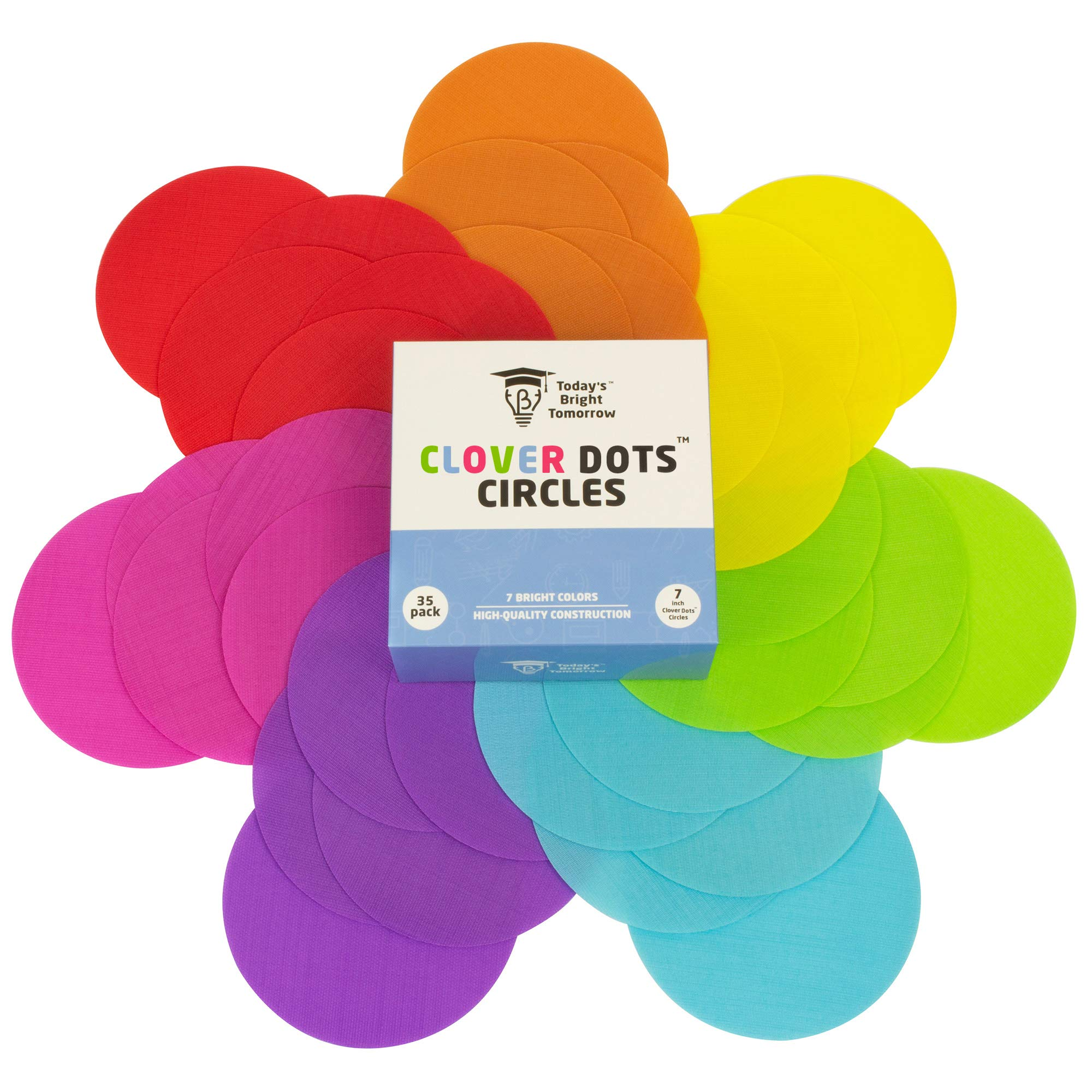 CLOVER DOTS, 7 inch Large Carpet Spot Circles, 35 Sitting Markers per Pack for Teachers and Children in Kindergarten and Preschool Classrooms, 7 Bright Colors