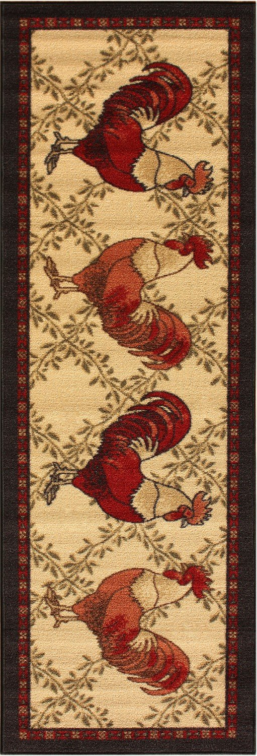 Rooster Runner Rug Black Border