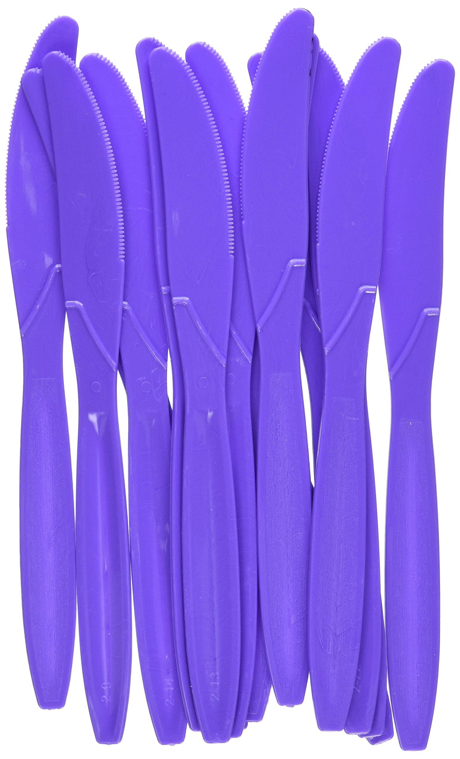 Amscan 43603.106 Big Party Pack Festive Plastic Knives, 8'' x 3.2'', Purple