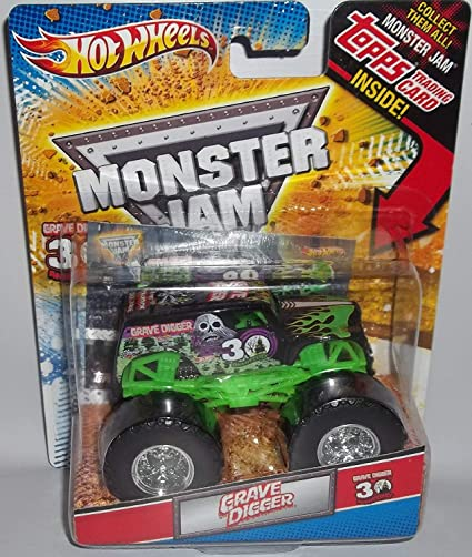 Amazon Com Hot Wheels Monster Jam Grave Digger 30th Anniversary 1 64 Diecast Truck Series With Monster Jam Topps Trading Card Inside Toys Games