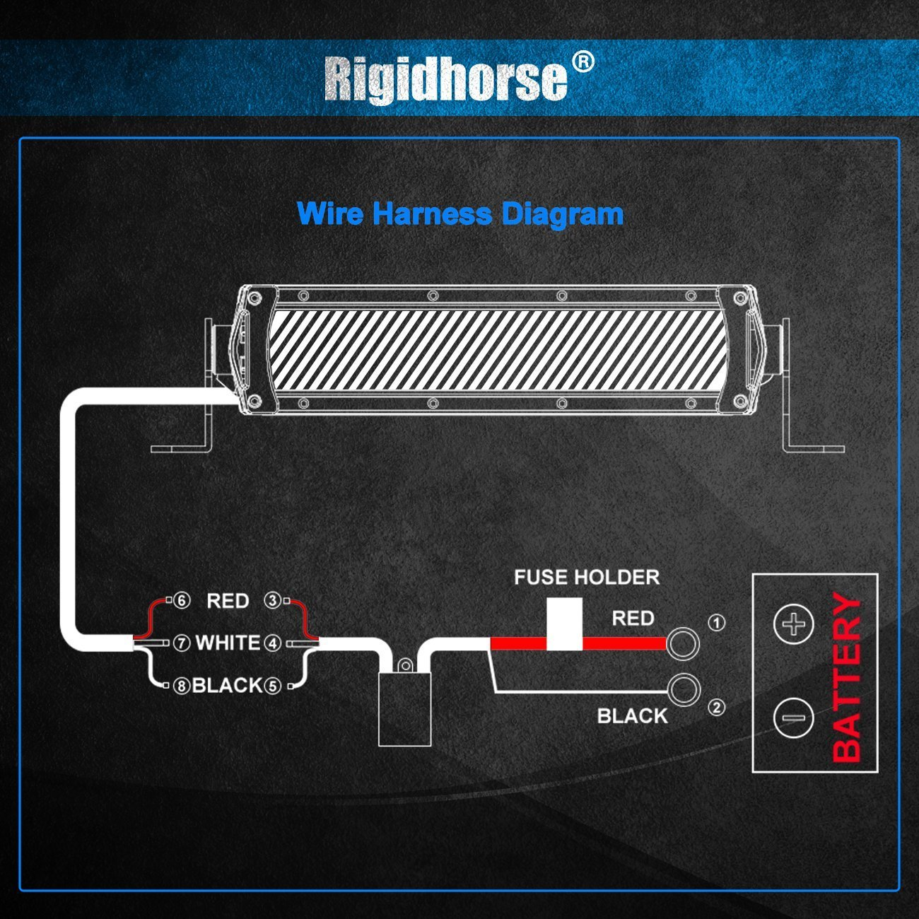 Wiring Harness Rigidhorse Remote Control Driving Light Diagram Kit For 8d Dual Mode Led Bar Universal Fitment Accessories Automotive