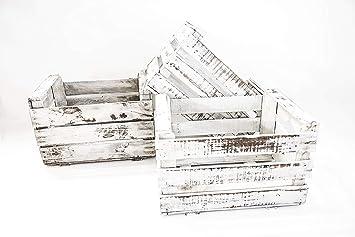 Set de 3 Cajas de Fruta Sam, Madera, Blanco Vintage, 49x35x31 cm, 3 Unidades. Incluye Imán Personalizable de Regalo.: Amazon.es: Hogar