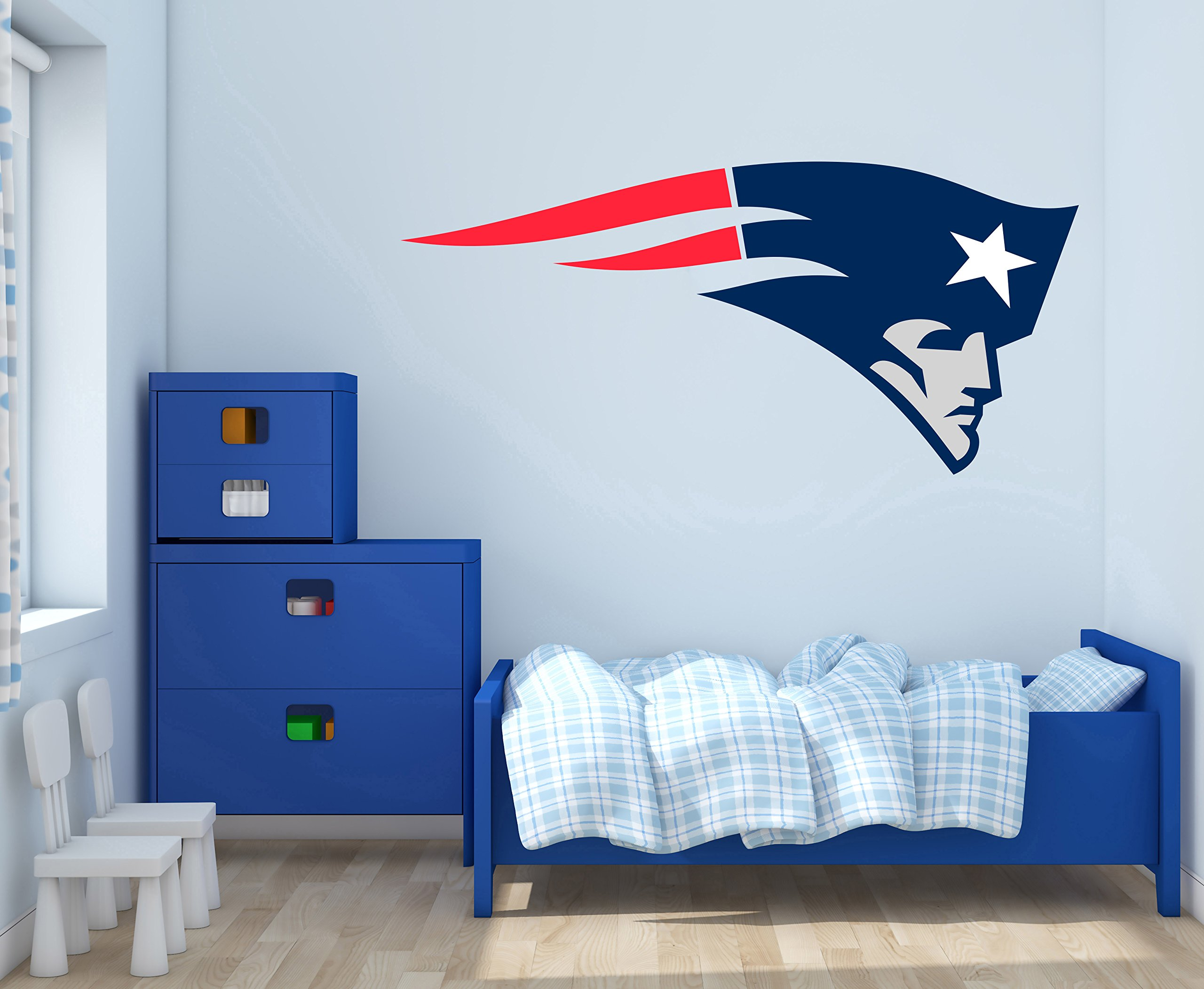 New England Patriots Logo - Quote Super Bowl Teams - Wall Decal for Home Decoration (Wide 40''x18'' Height Inches)