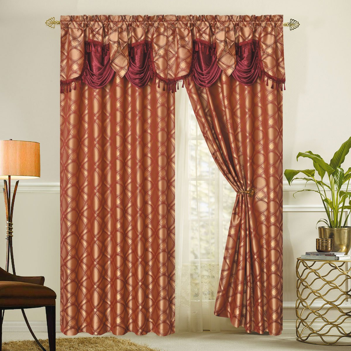 DANCE WITH WIND. Jacquard window curtain panel drape with attached fancy valance. 2pcs set. Each pc 54'' wide x 84'' drop with 18'' valance. (WINE)