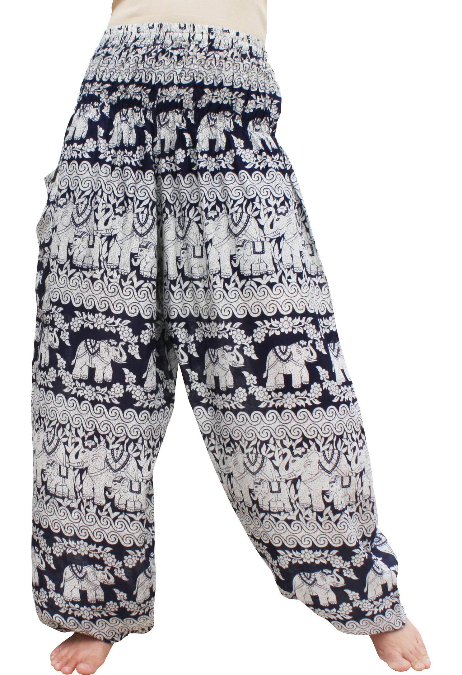 RaanPahMuang Brand Smock Waist Rayon Mixed Art Harem Baggy Aladdin Pants, Large, Elephant - Midnight Blue by RaanPahMuang