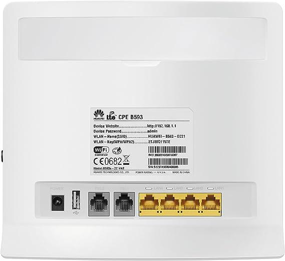 Huawei B593s-22 - Router 4G LTE WiFi 150 megabit/s, blanco ...