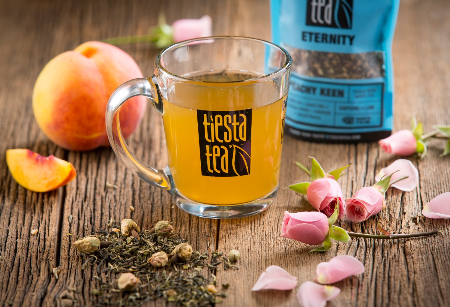 Tiesta Tea Peachy Keen, Peach Rose White Tea, 30 Servings