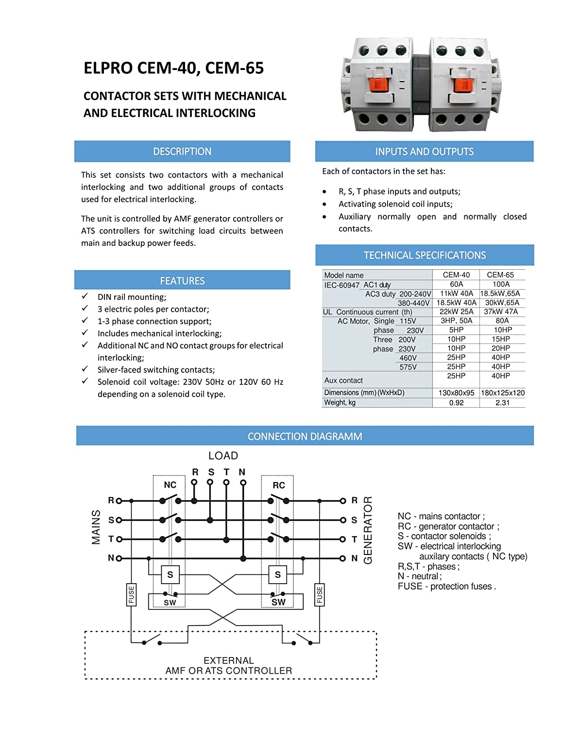 Elpro Cem 65 Contactor Set 3p 65a 230 400v 50 60hz Pole Mounted Controller Wiring Diagram Business Industry Science
