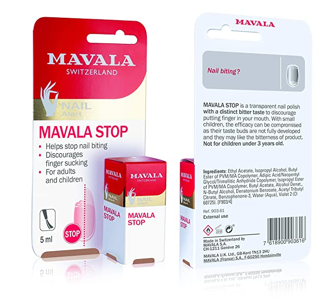 Mavala Stop Deterrent Nail Polish Treatment   Nail Care to Help Stop Putting Fingers In Your Mouth   For Ages 3+   0.17 oz   Amazon