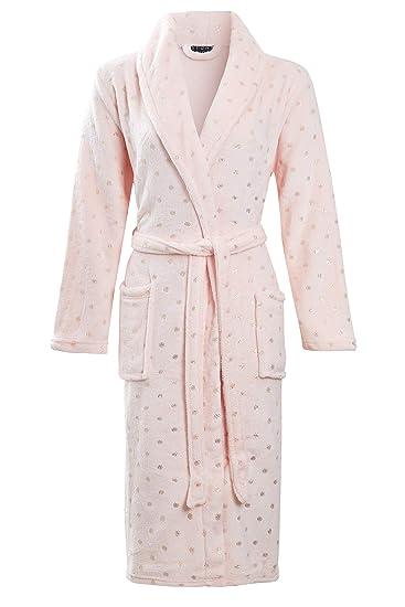 Habigail Ladies Luxury Plush Shimmer Fleece Dressing Gown Bathrobe   Amazon.co.uk  Clothing e32fd293e