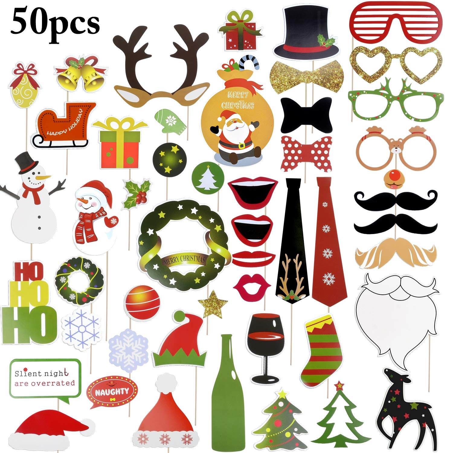 Funpa Photo Booth, Christmas Props Photo Booth DIY Funny Party Props Birthday Festivals Props
