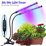 YYTECH [2018 Upgraded] Timing Function Grow light with 36 LED Dual head with 8 Dimmable Levels Grow Lamp Bulbs Adjustable 360 Degree Gooseneck for Indoor Plants Hydroponics Greenhouse Gardening