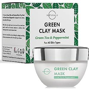 O Naturals Facial Moisturizer Vegan Green Clay Mask. Pore Vacuum Face Exfoliator Green Tea Hydrating Face Mask, Jojoba Oil Peppermint Oil Facial Mask Retinol Intense Acne Treatment - Men & Women 1.7oz