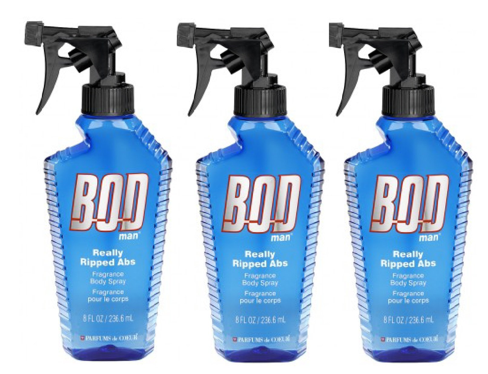 Bod Man - Mens Body Spray - Really Ripped Abs -Pack of 3
