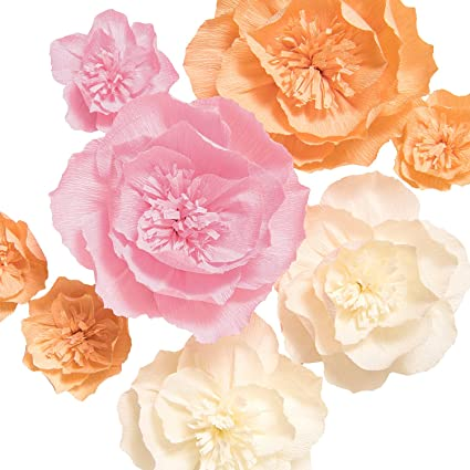 Amazon lings moment crepe paper flowers 8 x giant paper lings moment crepe paper flowers 8 x giant paper flowers handcrafted pink white orange paper mightylinksfo