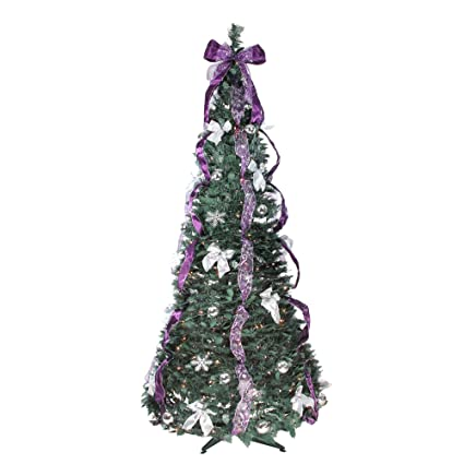 northlight 6 pre lit purple and silver decorated pop up artificial christmas tree - Pre Decorated Artificial Christmas Trees