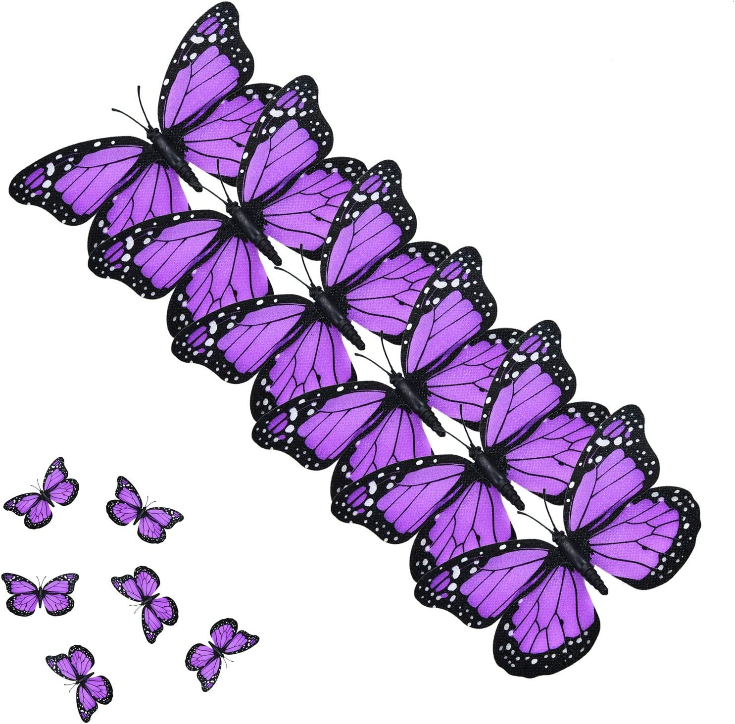AQUEENLY Monarch Butterfly Decorations, 4.72'' Purple Premium Artificial Monarch Butterfly to Decorate for Craft, Home, Wall, Wedding, Party (12 Pcs)