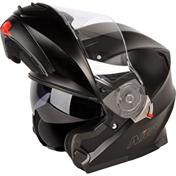 187198L02 - Nitro F343 Elite DVS Flip Front Motorcycle Helmet L Satin Black (02)