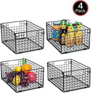 "X-cosrack Foldable Cabinet Wall Mount Metal Wire Basket Organizer with Handles Set of 4, Farmhouse Food Storage Mesh Bin for Kitchen Pantry Bathroom Laundry Closet Garage12"" x 9"" X 6"" Patent Pending"
