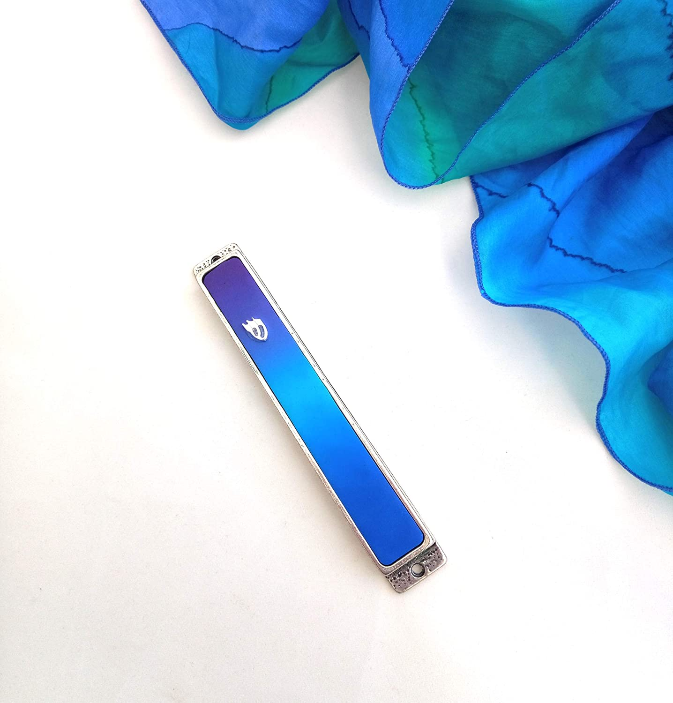 Judaica Handmade Art by Israeli Artist Great as Housewarming and Bar Mitzvah Gift Blue Mezuzah Case