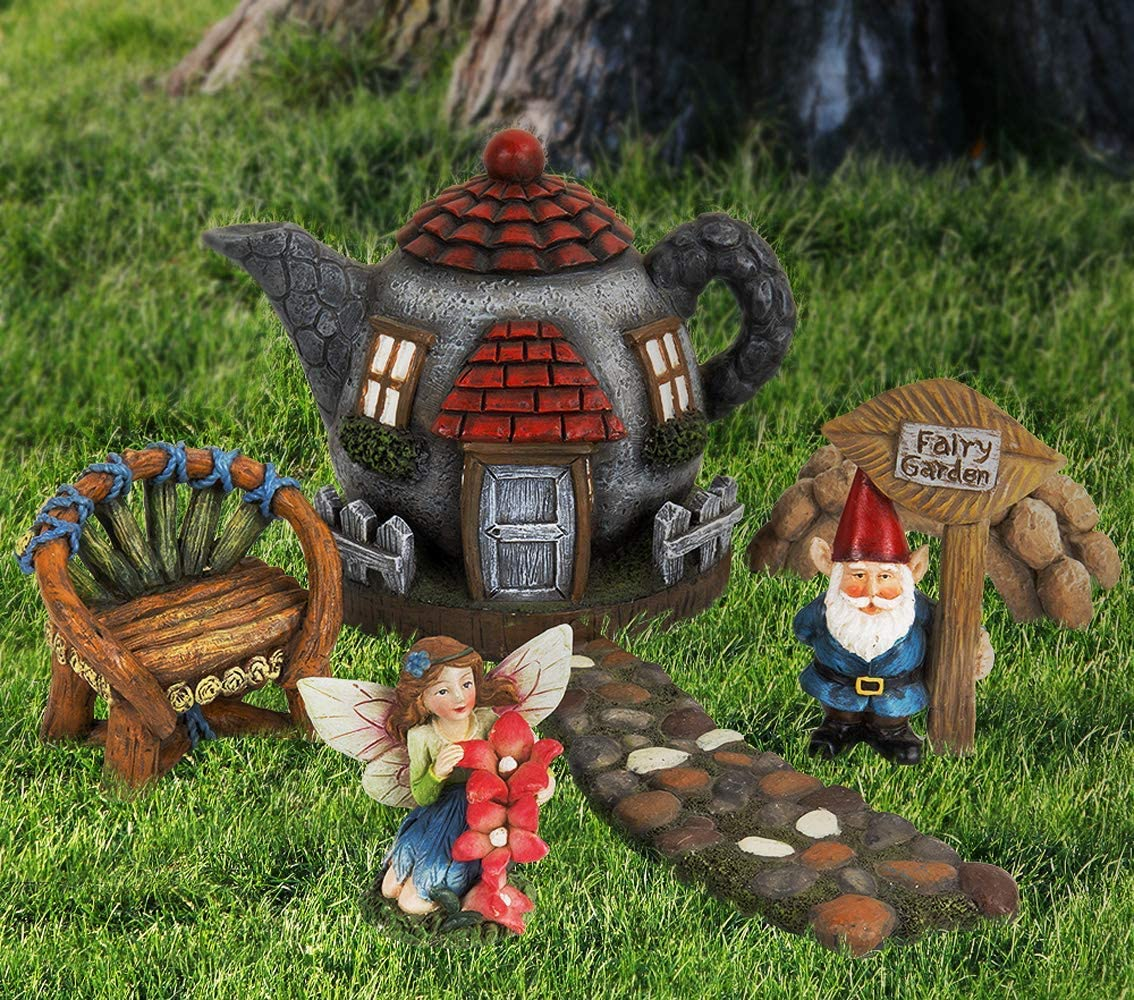 LA JOLIE MUSE Fairy Garden Gnome Accessories Kit – Hand Painted Miniature Teapot Fairy House Figurine Set of 6 pcs, Indoor Outdoor Holiday Ornaments Gifts for Mom Girls Boys Adults, Yard Lawn Decor