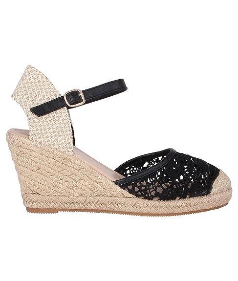 Esparteñas Cuña de Encaje Negras[Negro,37]: Amazon.es: Zapatos y complementos