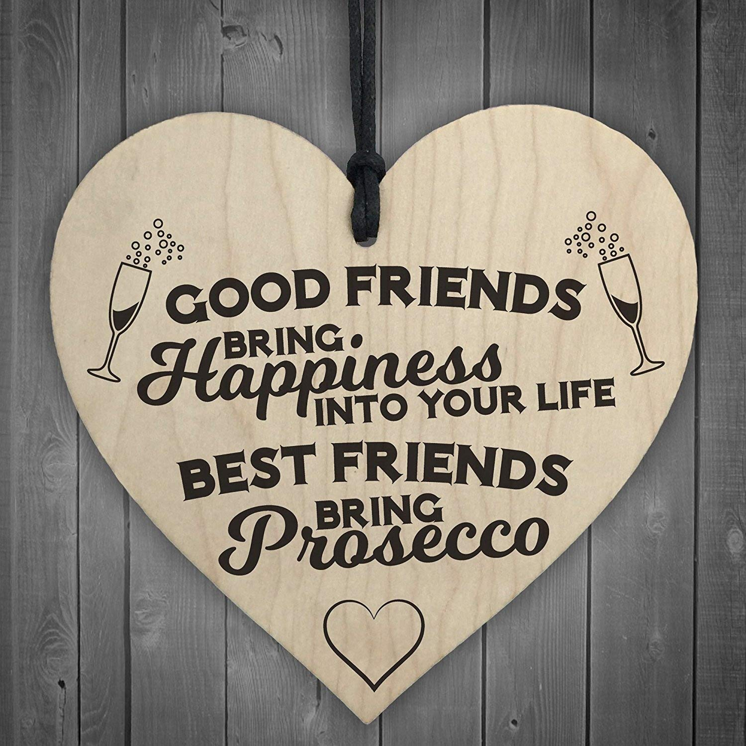 RED OCEAN Best Friends Bring Prosecco Wooden Hanging Heart Plaque Novelty Alcohol Sign