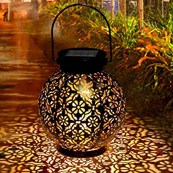 Farol Solar, Tencoz Linterna Solar Exterior LED Luz Solar Colgando Jardín Farolillo Solare Solar Lantern Outdoor Luz Colgante Lámpara de Metal de Luces de Jardín Lámpara: Amazon.es: Iluminación
