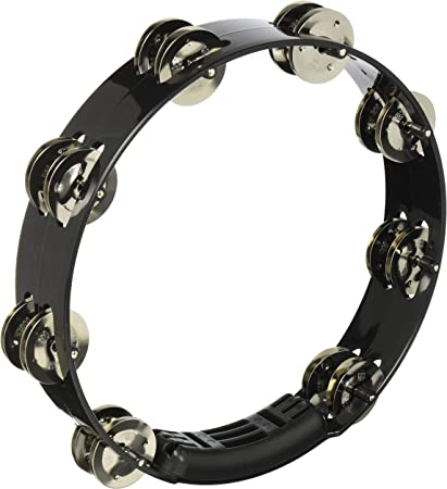 Black Meinl Percussion TMT1B-BK Traditional ABS Plastic Handheld Tambourine with Double Row Brass Jingles