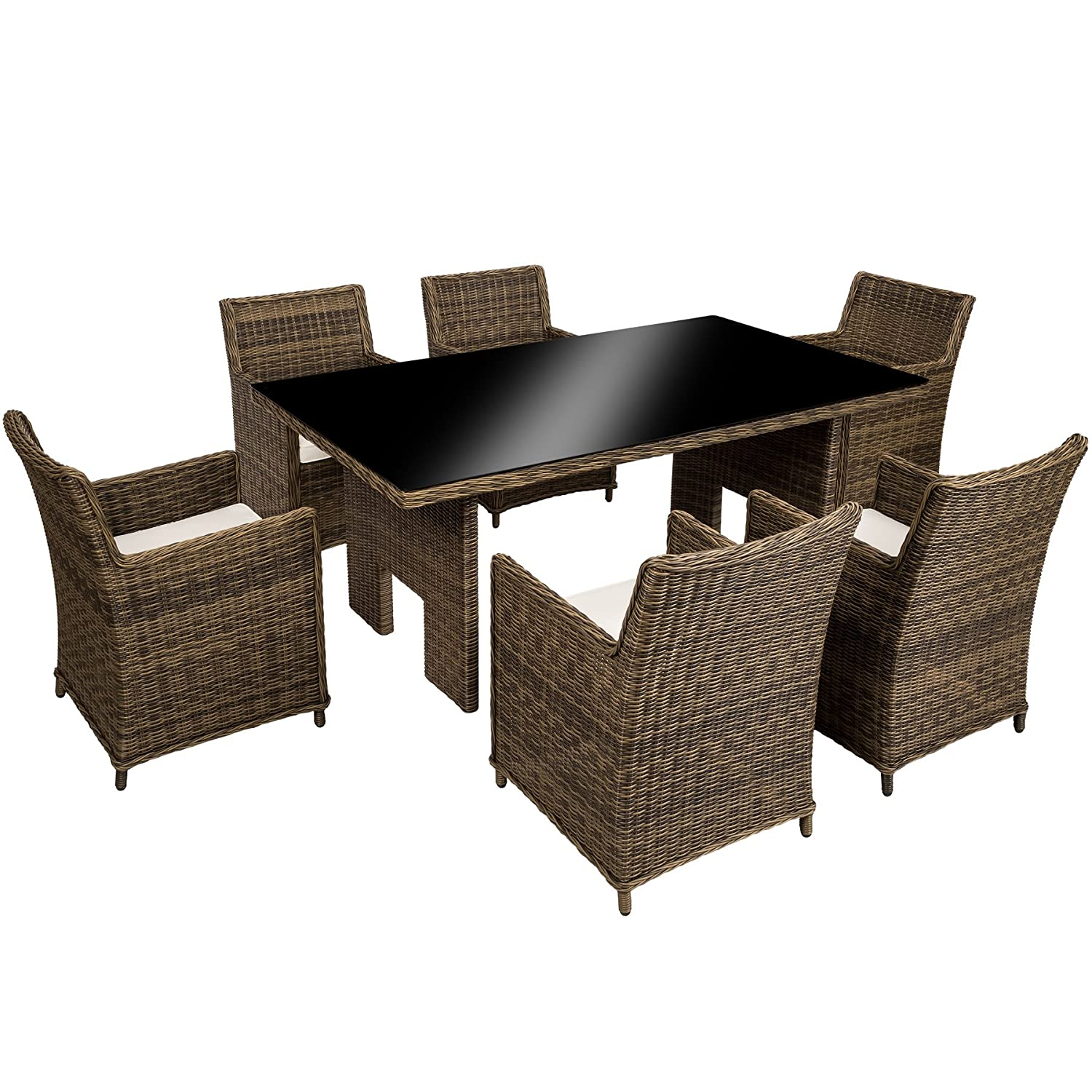 tectake hochwertige luxus aluminium poly rattan garten essgruppe rostfrei 6 st hle tisch mit. Black Bedroom Furniture Sets. Home Design Ideas