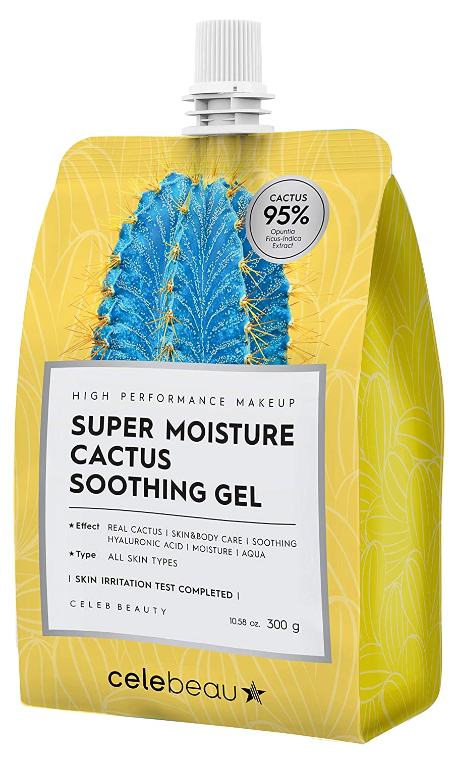 CELEBEAU - Super Moisture Cactus Soothing Gel - 95% Cactus Extract - Maximum Soothing & Hydration for All Sensitive Skin Types - Excellent After Sun Care Relief - 300g