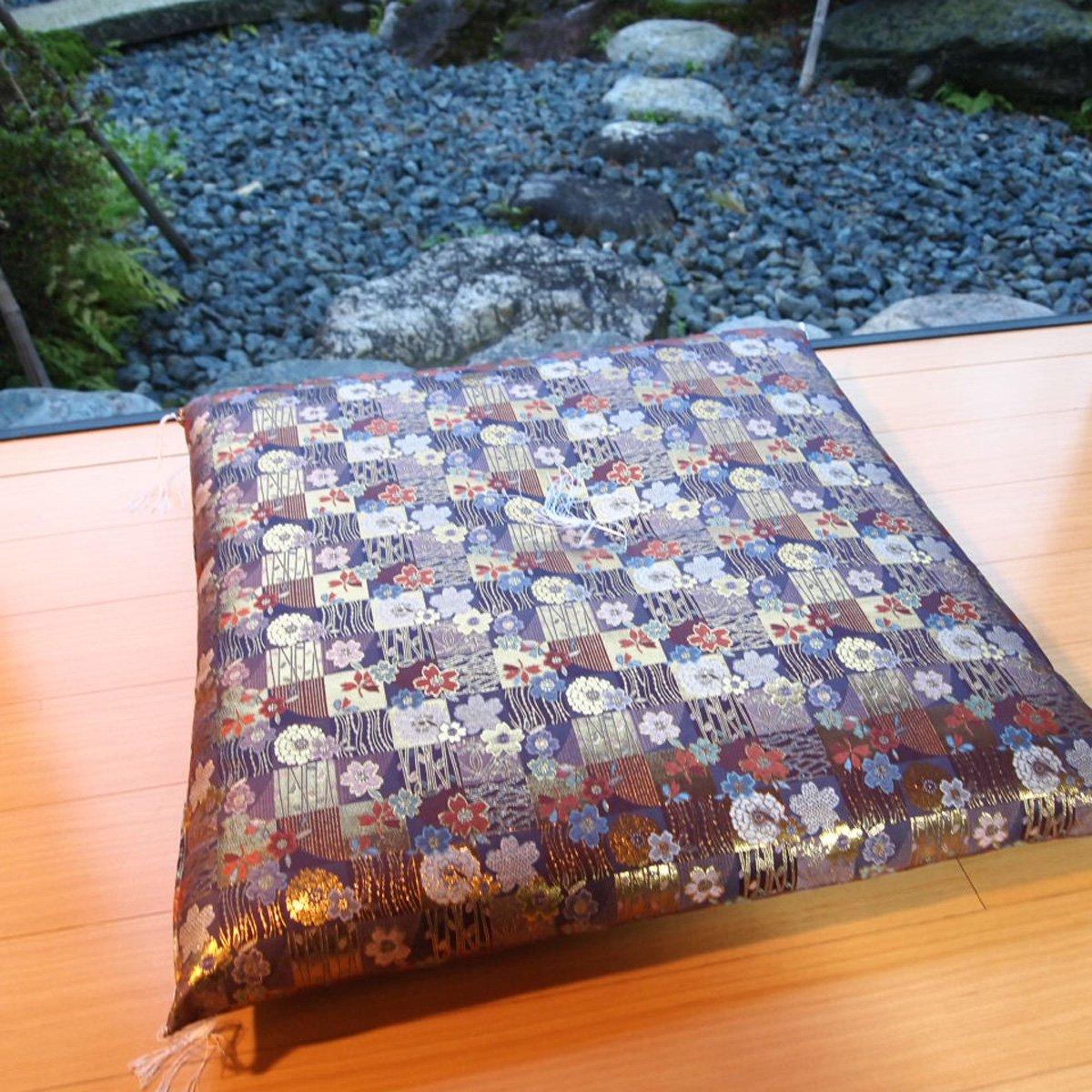 Four Seasons Handmade Japanese Brocade Fabric Zabuton Meditation Cushion 24.8× 25.1Inch Compressed cotton