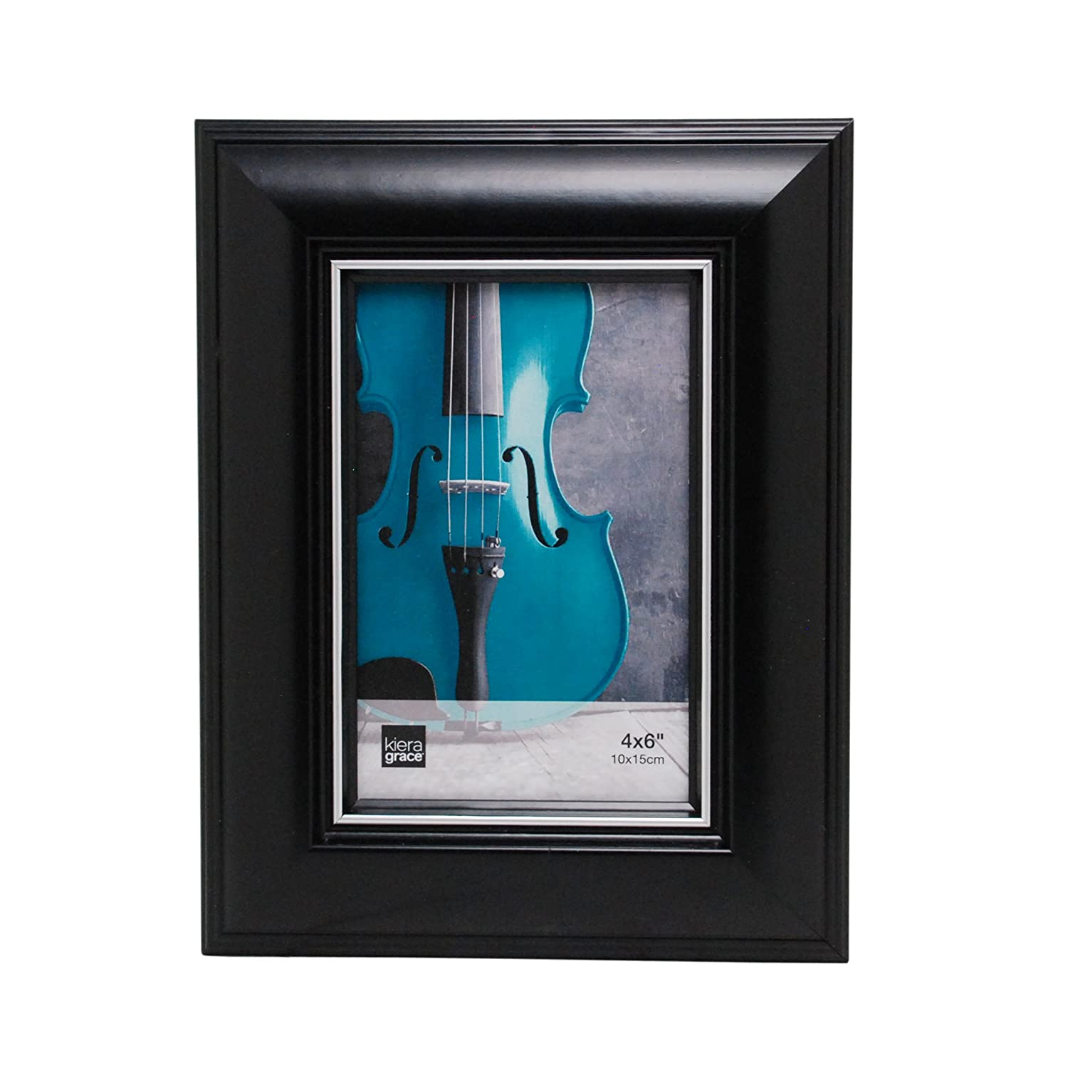 Kiera Grace Hunter Picture Frame, 4 by 6-Inch, Black with Silver Line AZ Home and Gifts PH43780-8